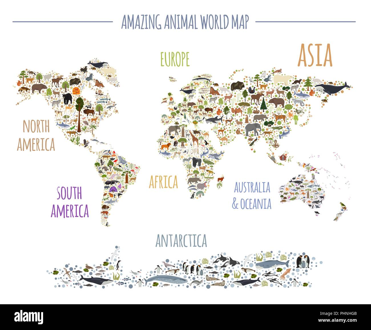 Flat world flora and fauna map constructor elements. Animals, birds and sea life isolated big set. Build your own geography infographics collection. V - Stock Image