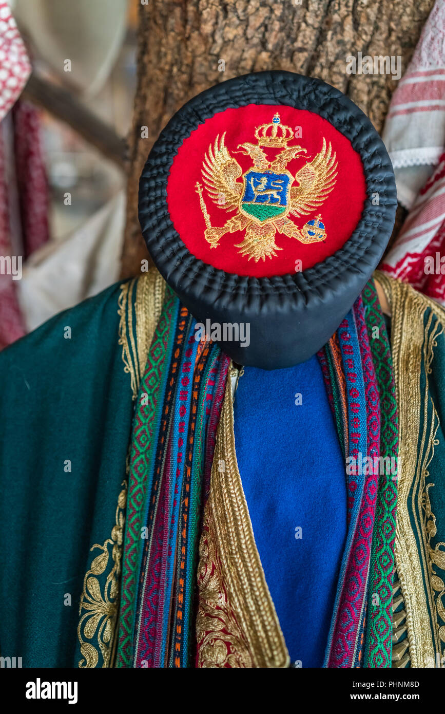 Closeup of a traditional Balkan folk costume - Stock Image
