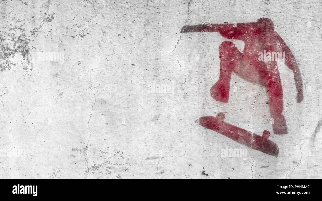 Skateboarding themed stencil graffiti - Stock Image