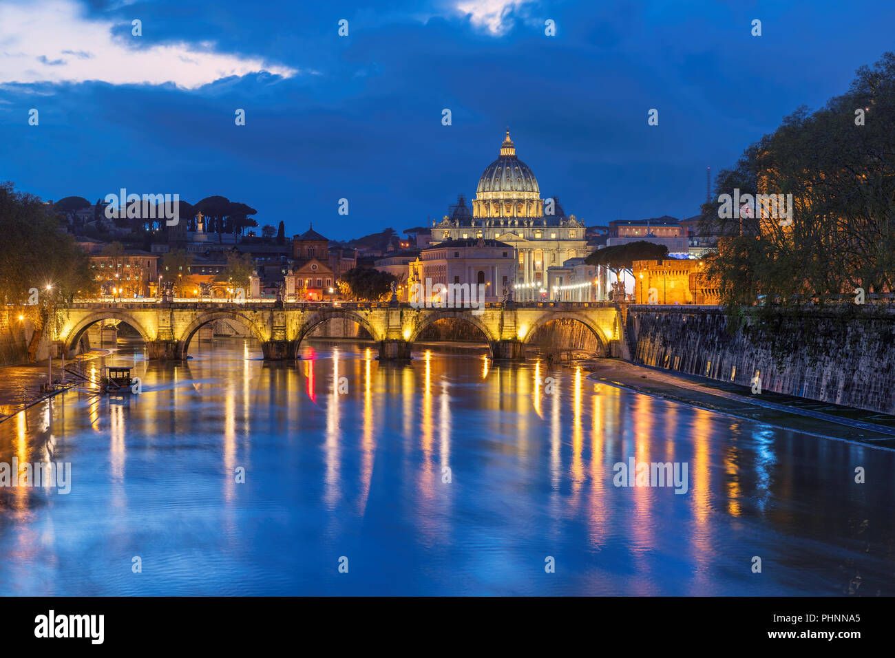 Rome at night, Italy. St. Peter's cathedral with bridge in Vatican, Rome, Italy. - Stock Image