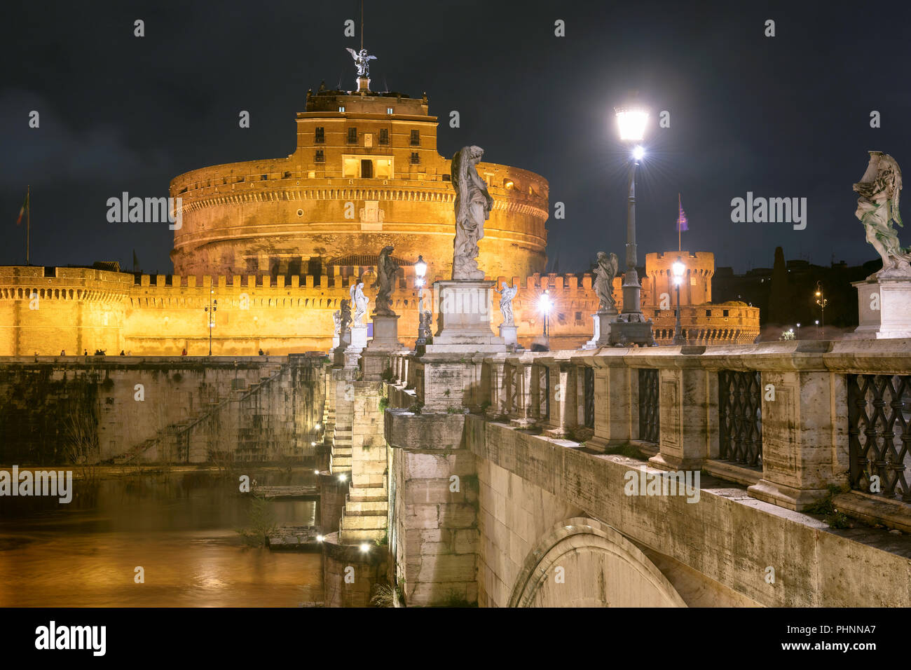 Castel Sant'Angelo at night with the sant angelo bridge. Rome, Italy. - Stock Image