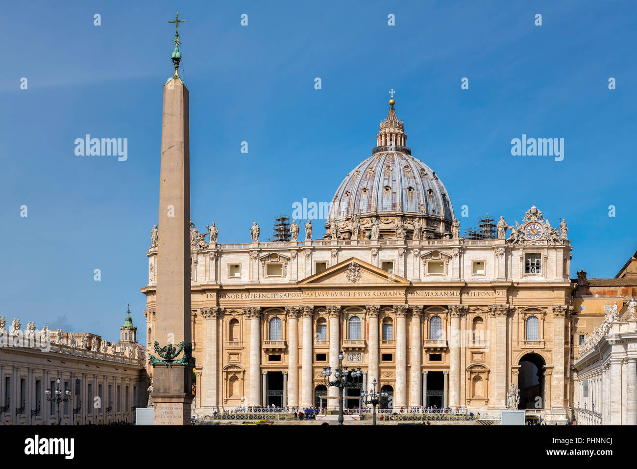 Front view of St. Peters basilica from St. Peter's square in Vatican City, Vatican. - Stock Image