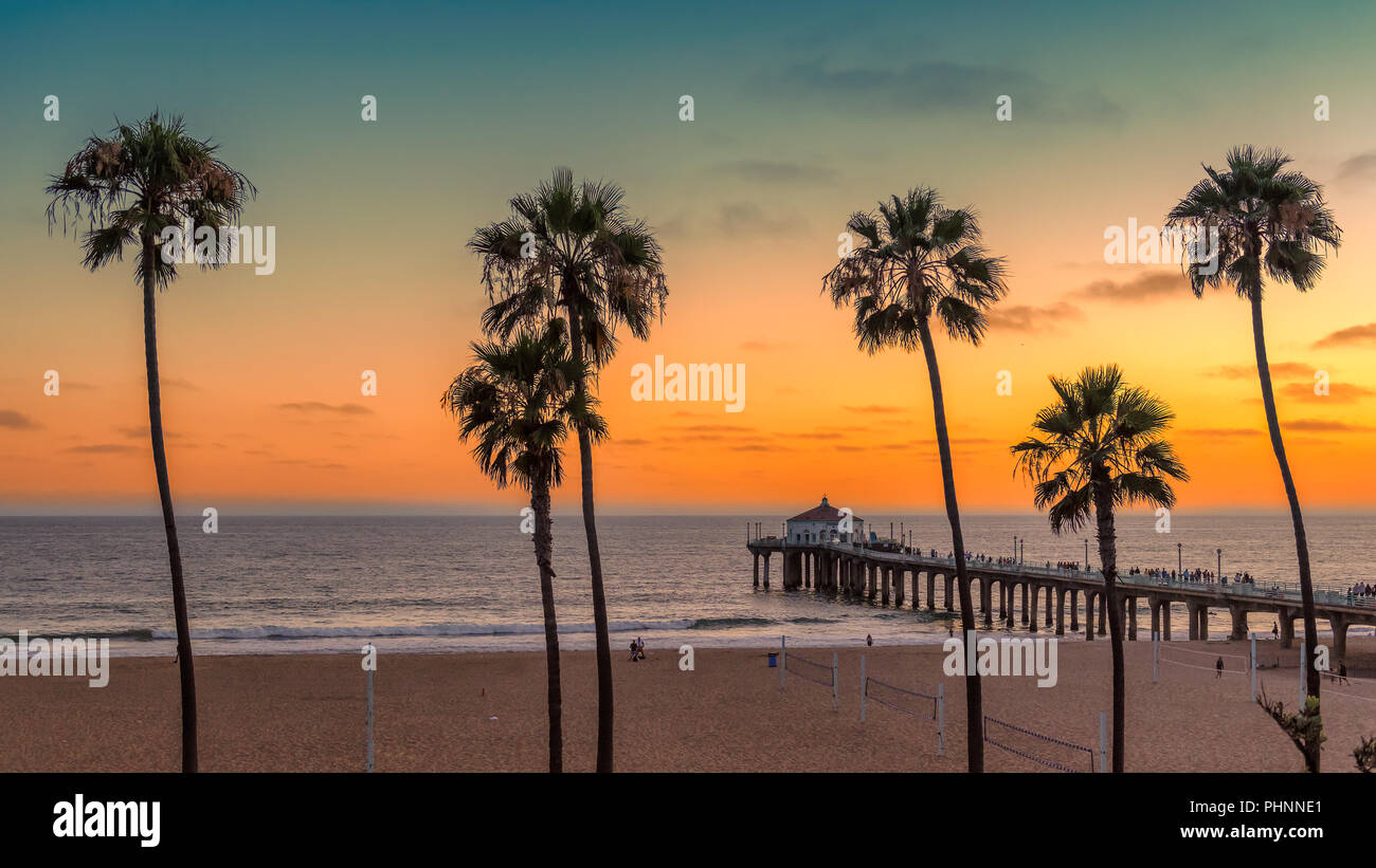 California beach at sunset - Stock Image