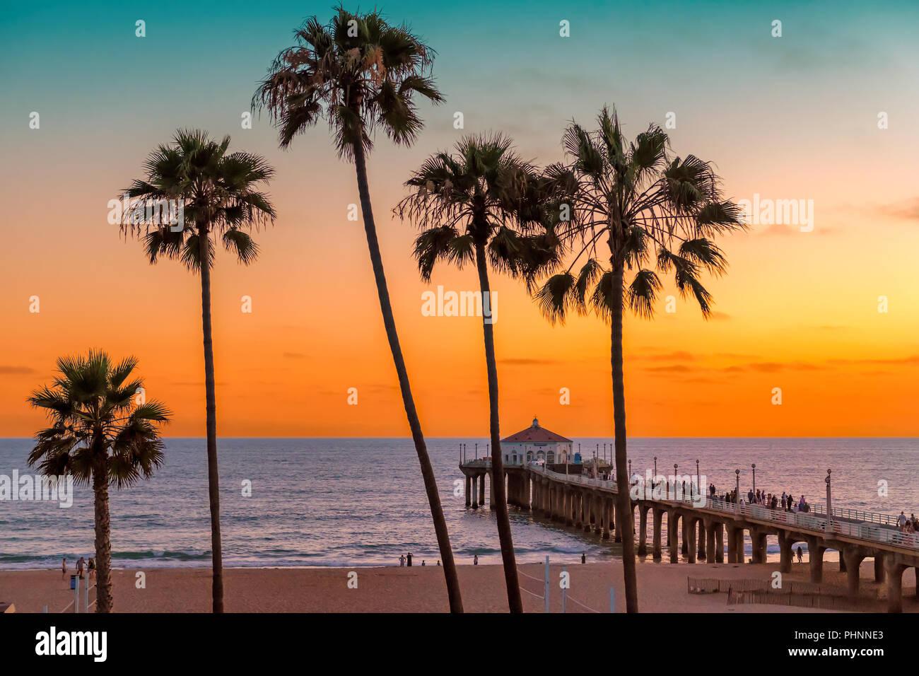 California beach at sunset - Stock Image