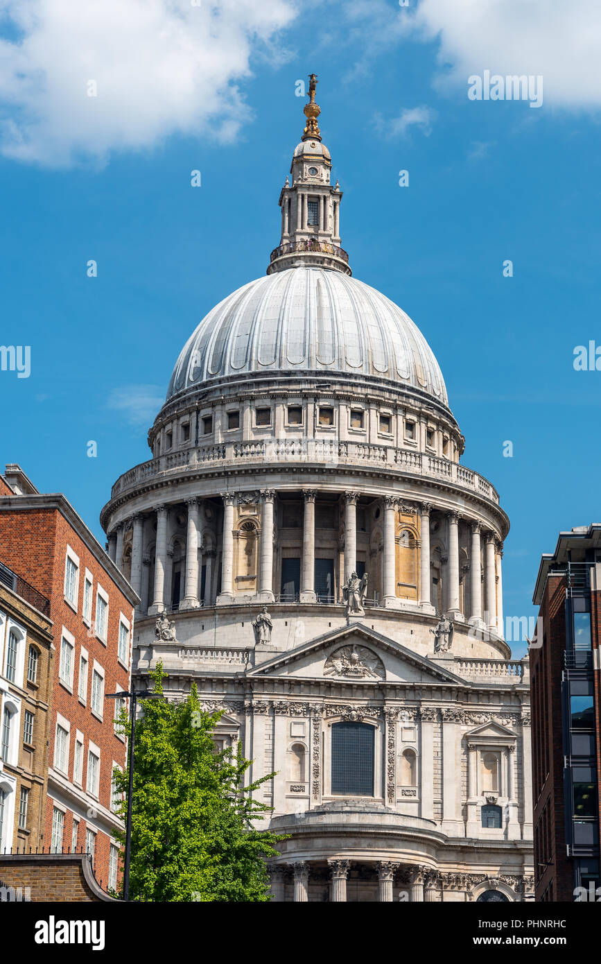 View towards the cupola of St Pauls Cathedral in London on a sunny day - Stock Image