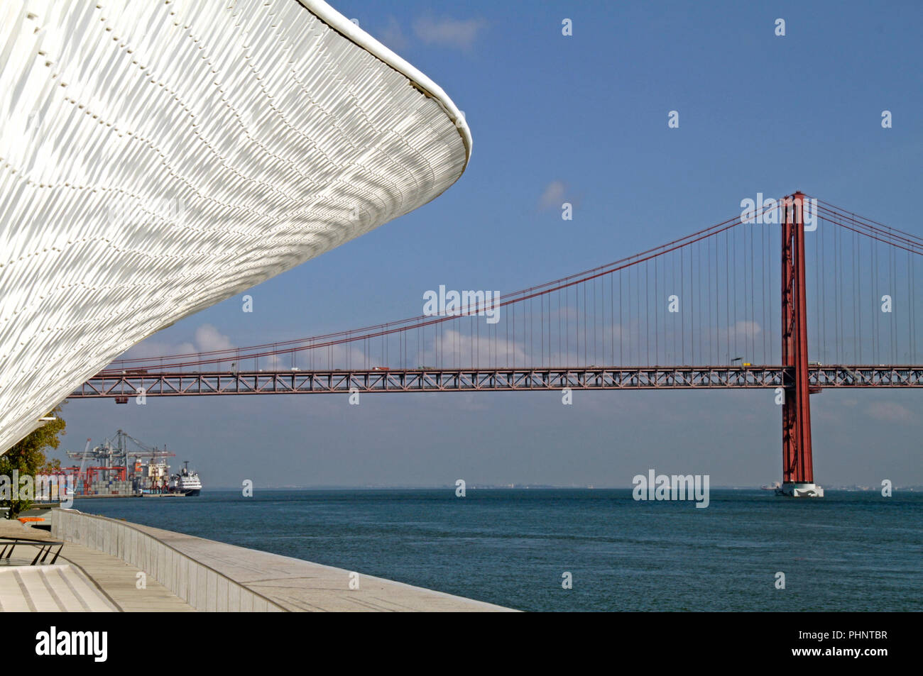 "The ""Ponte 25 de Abril"" bridge in Lisbon, Portugal Stock Photo"