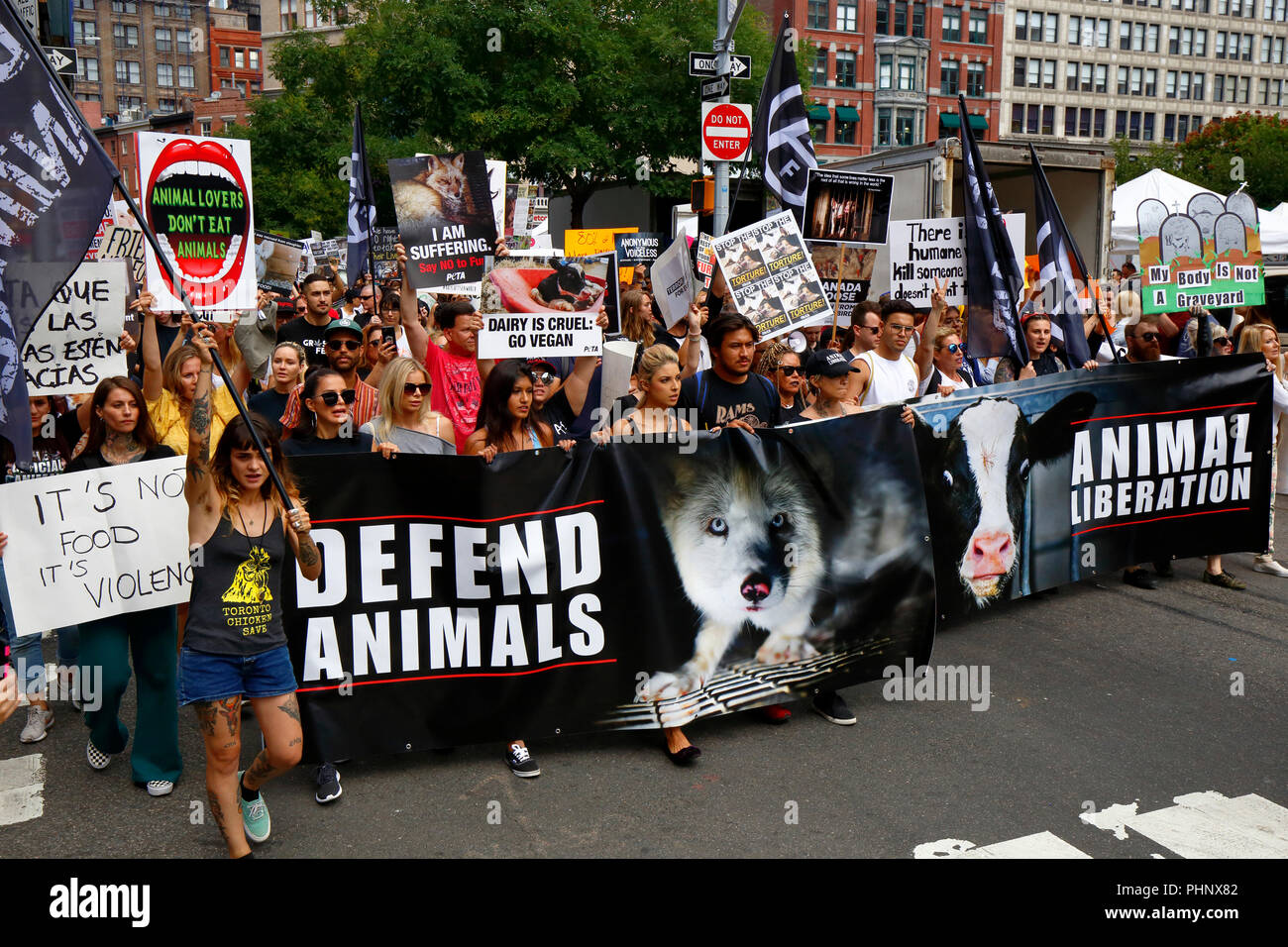 New York, NY, USA. 1st September, 2018. Animal rights activists and demonstrators march in Union Square at the Official Animal Rights March NYC organized by Surge, and Total Liberation New York. Credit: Robert K. Chin/Alamy Live News - Stock Image
