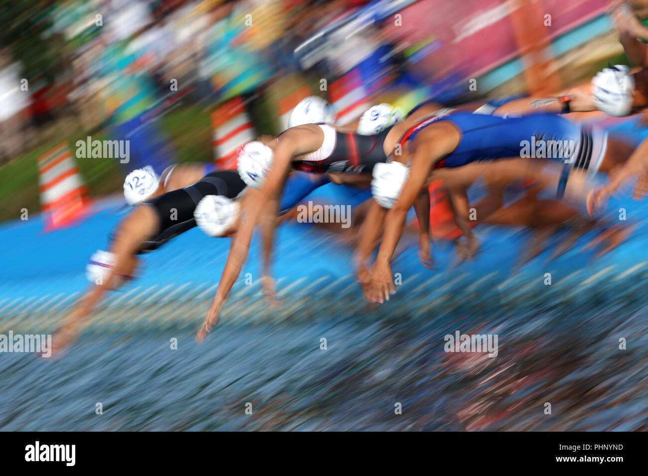 Palembang, Indonesia. 2nd Sep, 2018. General view Triathlon : Mixed Relay at Jakabaring Sport Center Lake during the 2018 Jakarta Palembang Asian Games in Palembang, Indonesia . Credit: Yohei Osada/AFLO SPORT/Alamy Live News - Stock Image