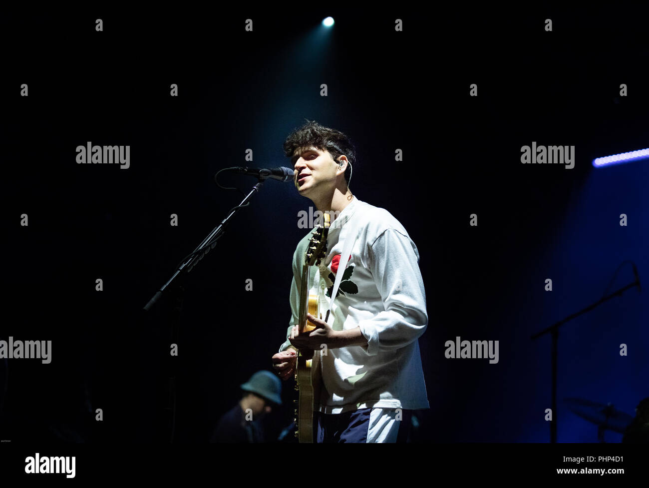 Wiltshire, dorset  UK. 1 September 2018. end of the road festival 2018.vampire weekend playing the main stage on saturday 1.918 the main act of the night  Ezra Koenig on lead vocals and guitar  the 1st time of playing the uk in four yerars Credit: Paul Bevan/Alamy Live News Stock Photo