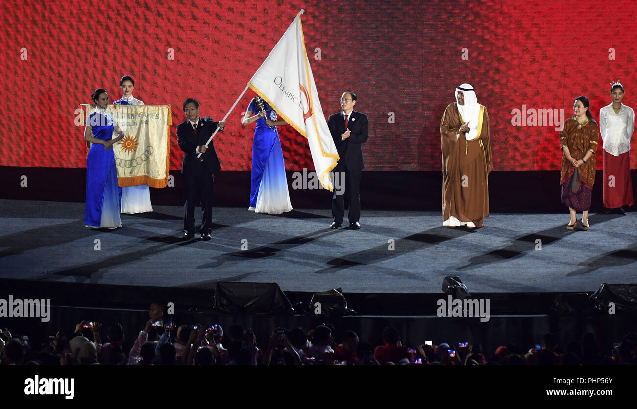 (180902) -- JAKARTA, Sept. 2, 2018 (Xinhua) -- Photo taken on Sept. 2, 2018 shows the flag handover ceremony during the closing ceremony of the 18th Asian Games at the Gelora Bung Karno (GBK) Main Stadium in Jakarta, Indonesia. (Xinhua/Huang Zongzhi) - Stock Image