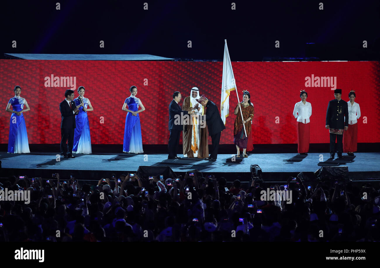 (180902) -- JAKARTA, Sept. 2, 2018 (Xinhua) -- Photo taken on Sept. 2, 2018 shows the flag handover ceremony during the closing ceremony of the 18th Asian Games at the Gelora Bung Karno (GBK) Main Stadium in Jakarta, Indonesia. (Xinhua/Ding Ting) - Stock Image