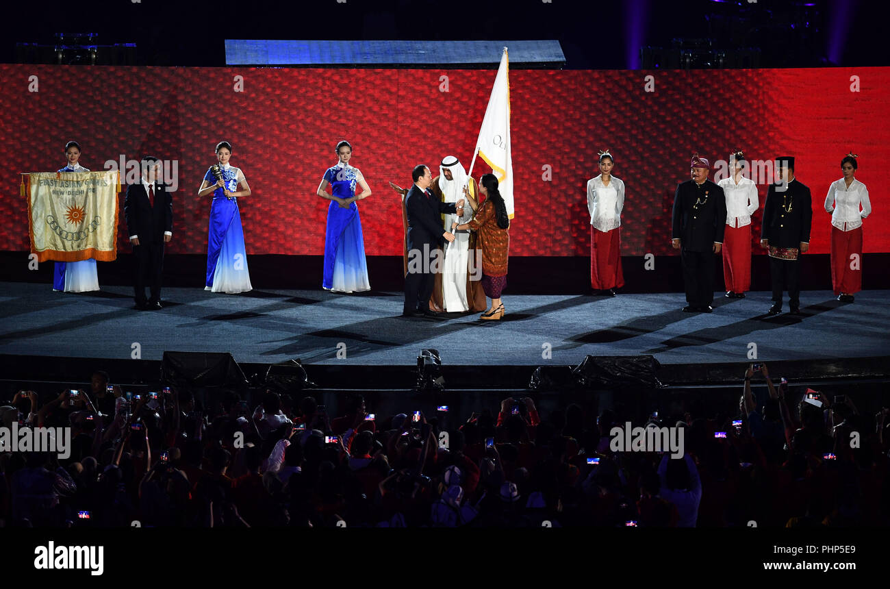 (180902) -- JAKARTA, Sept. 2, 2018 (Xinhua) -- Photo taken on Sept. 2, 2018 shows the handover ceremony of the flag of Olympic Council of Asia (OCA) during the closing ceremony of the 18th Asian Games at the Gelora Bung Karno (GBK) Main Stadium in Jakarta, Indonesia. (Xinhua/Li Xiang) - Stock Image