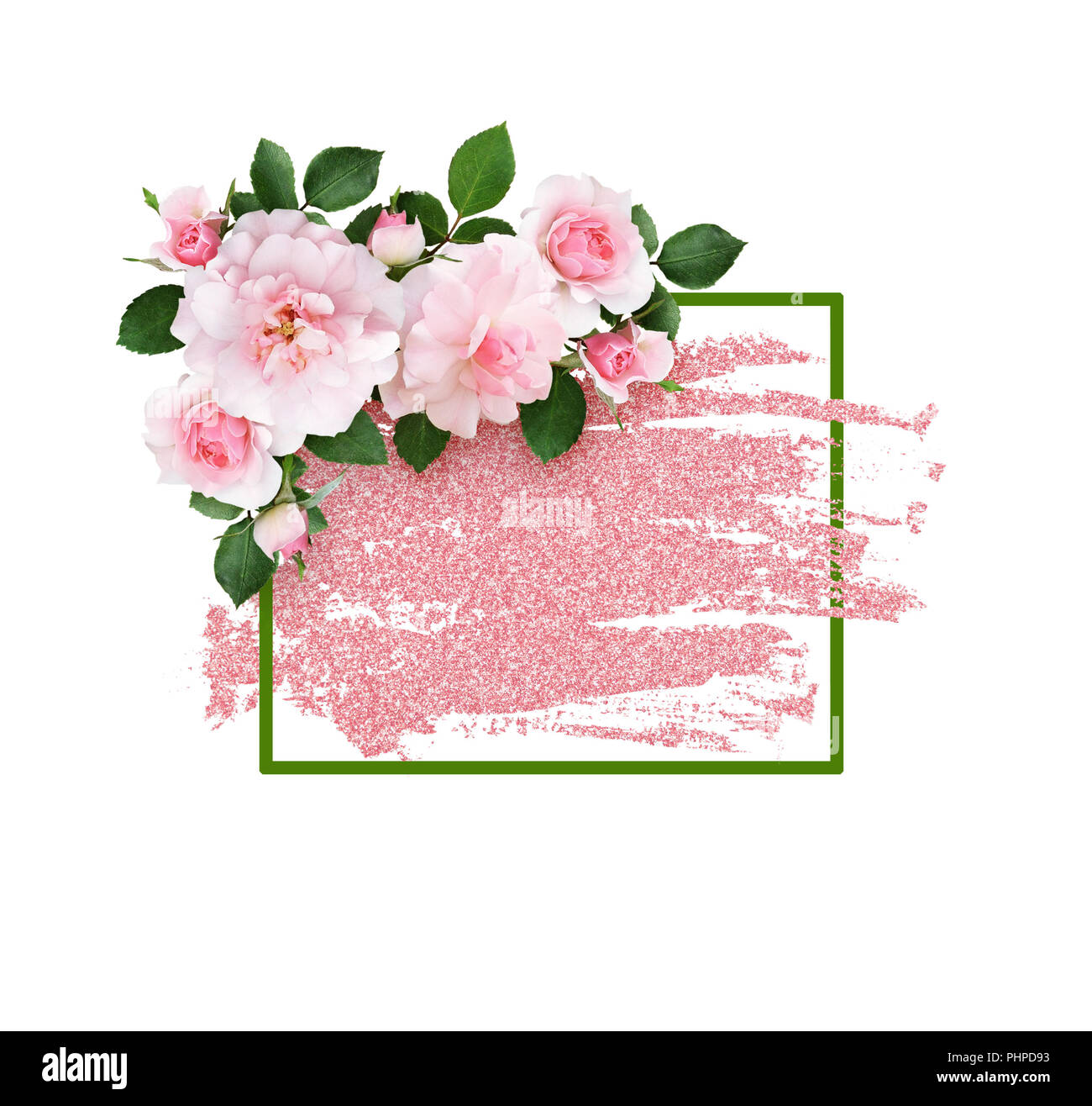 Pink Rose Flowers And A Green Frame On Glitter Brushstroke Isolated