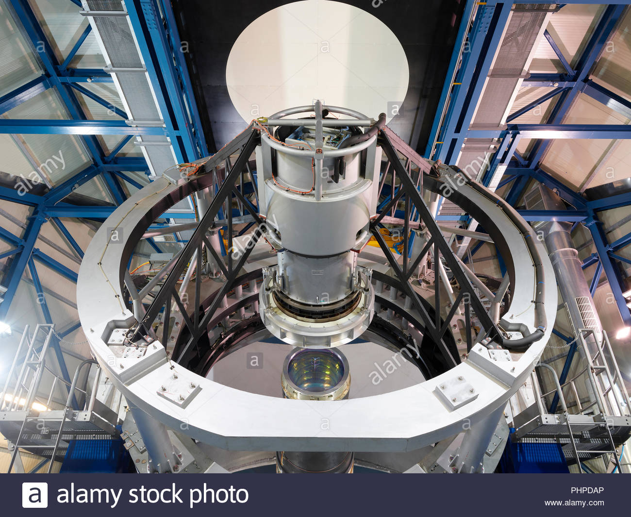 Low angle view of a telescope lens at Paranal Observatory - Stock Image