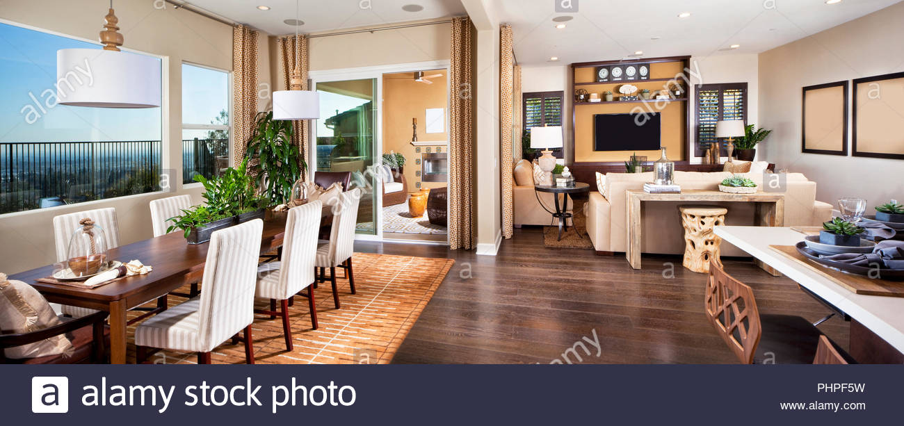 Open plan living and dining room - Stock Image
