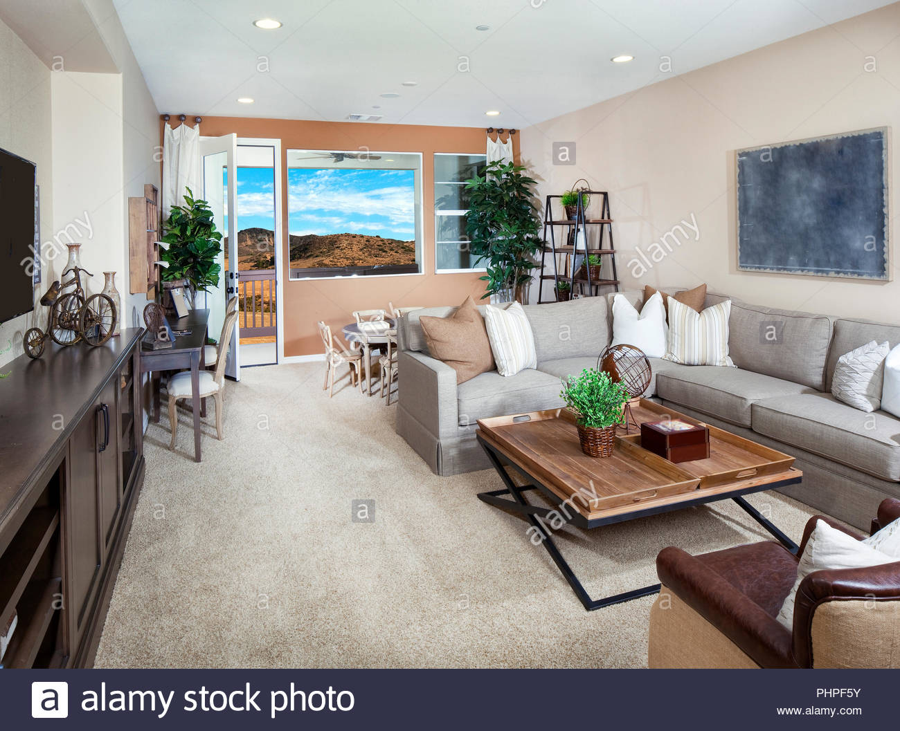 Grey and brown living room - Stock Image