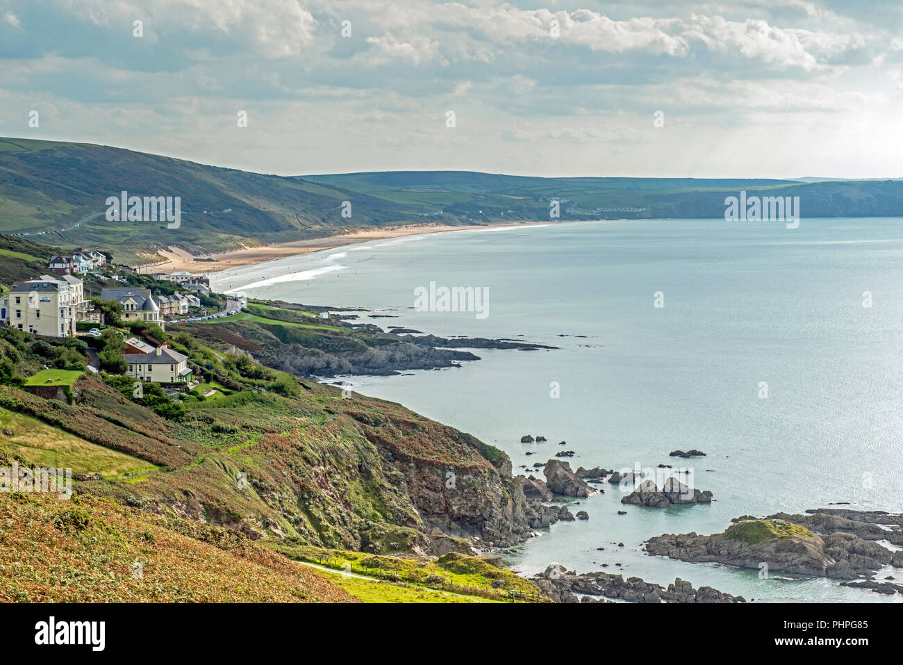 Morthoe and Woolacome Beach North Devon, photographed in September - Stock Image