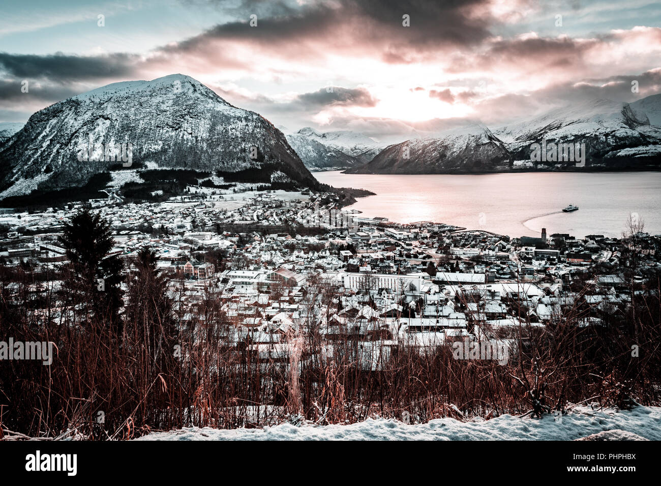 Volda (norway) in winter, aerial View - Stock Image