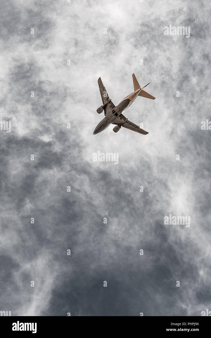 Airplane, Aircraft bottom, flying, take-off, landing - Stock Image