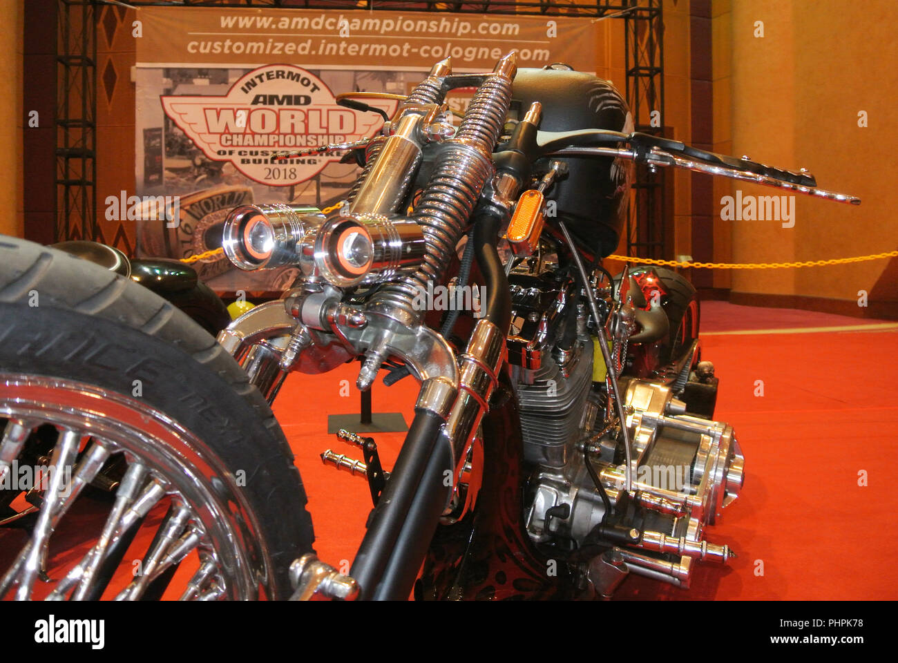 Custom motorcycle. Customized from old motorcycle model by the designer to fulfill their passion and creativity. - Stock Image