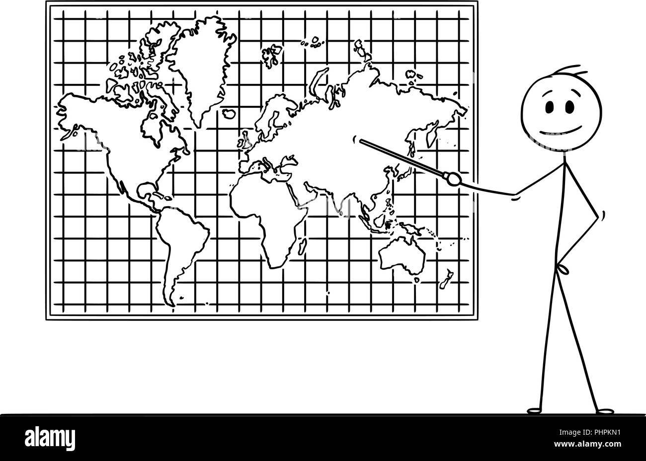 Cartoon of Man Pointing at Asia Continent on Wall World Map - Stock Vector