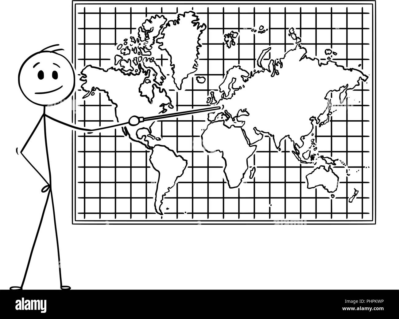 Cartoon of Man Pointing at Europe Continent on Wall World Map - Stock Image