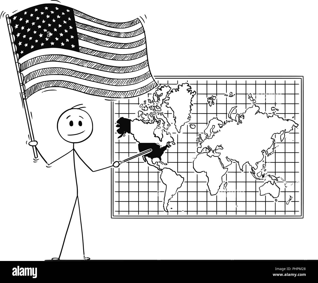 Cartoon Of Man Holding Us Flag And Pointing At United States Of