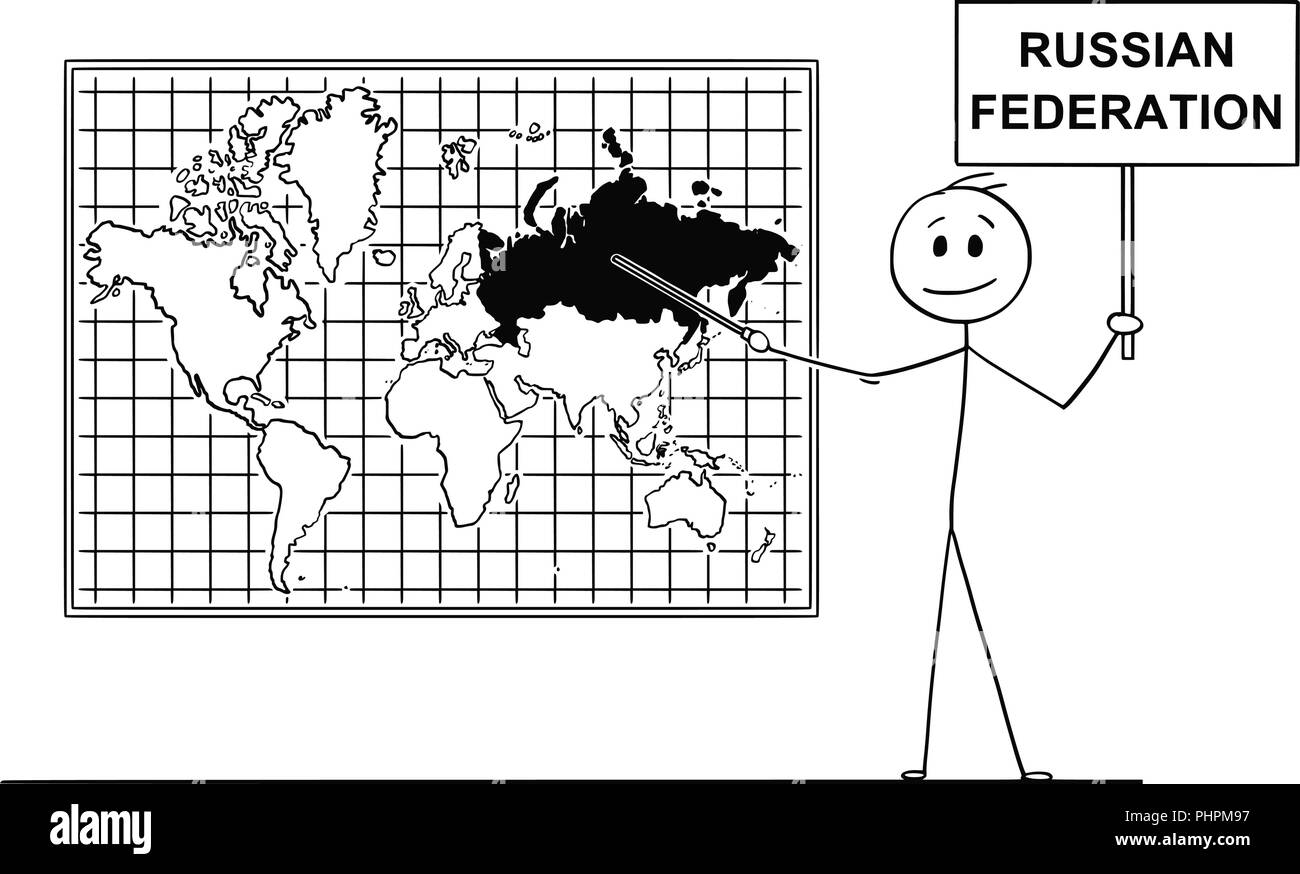 Cartoon of Man Pointing at Russia or Russian Federation on Wall World Map - Stock Image