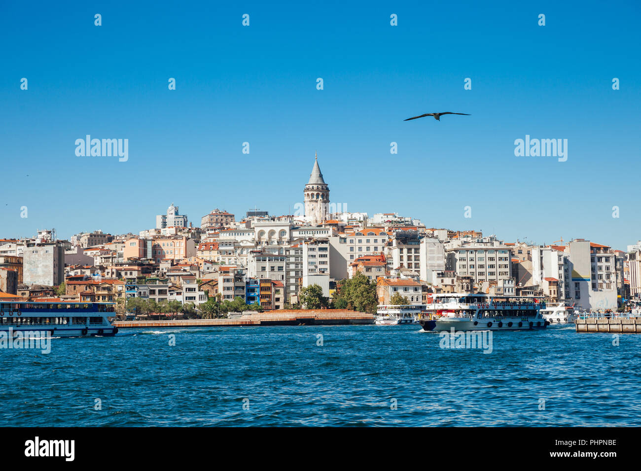The beautiful view of the Galata Tower across the Golden Horn, Istanbul, Turkey Stock Photo
