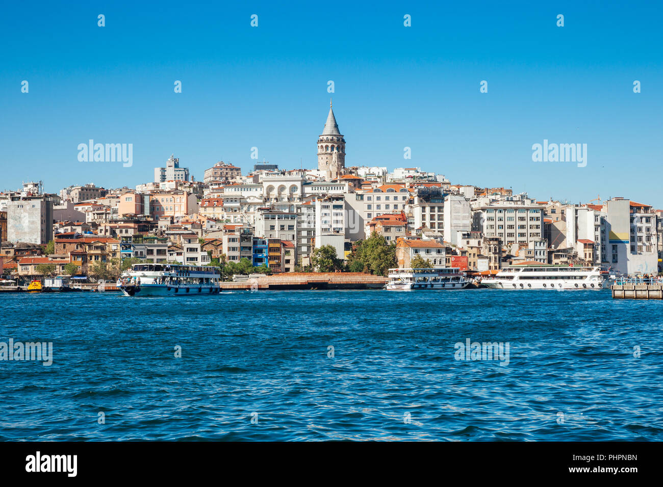 The beautiful view of the Galata Tower across the Golden Horn, Istanbul, Turkey - Stock Image