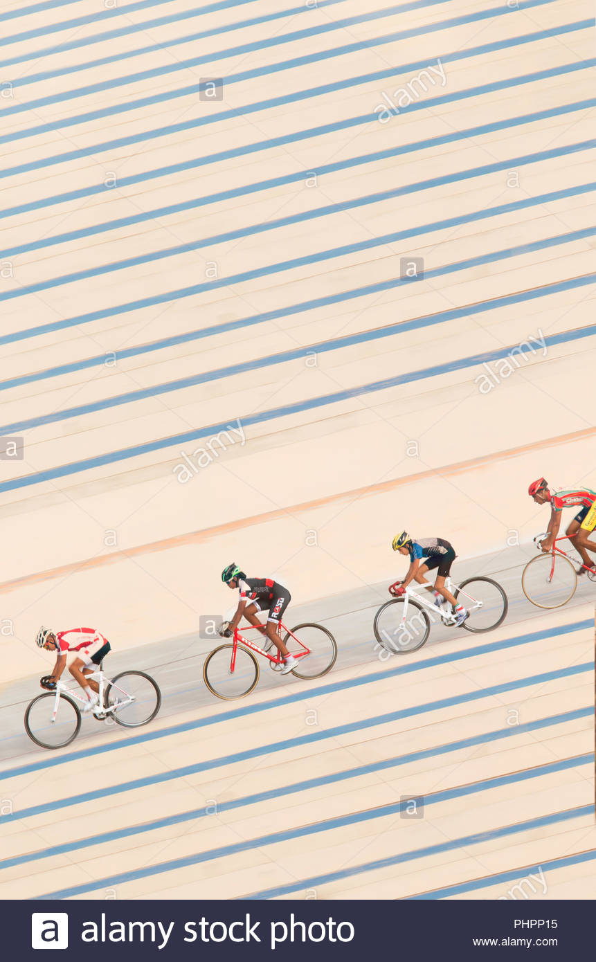 Cyclists training at Stade Velodrome in Casablanca, Morocco - Stock Image