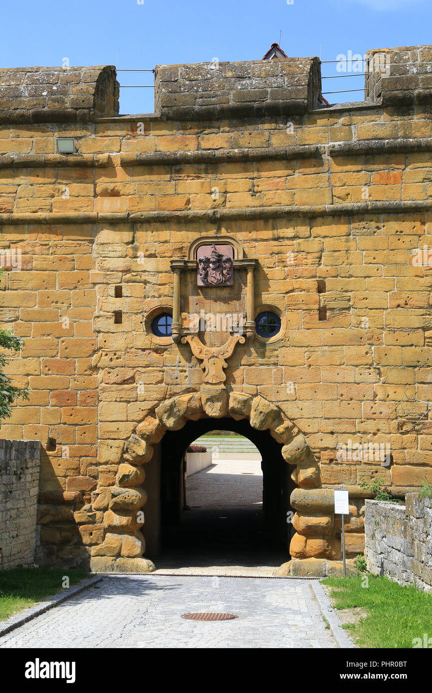 Lauchheim,Entrance of Kapfenburg Castle, International Musics School Academy - Stock Image
