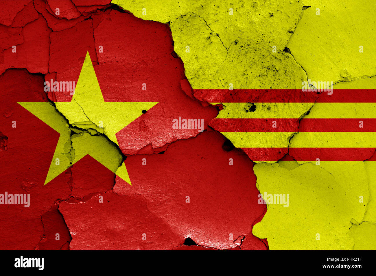 flags of North Vietnam and South Vietnam - Stock Image