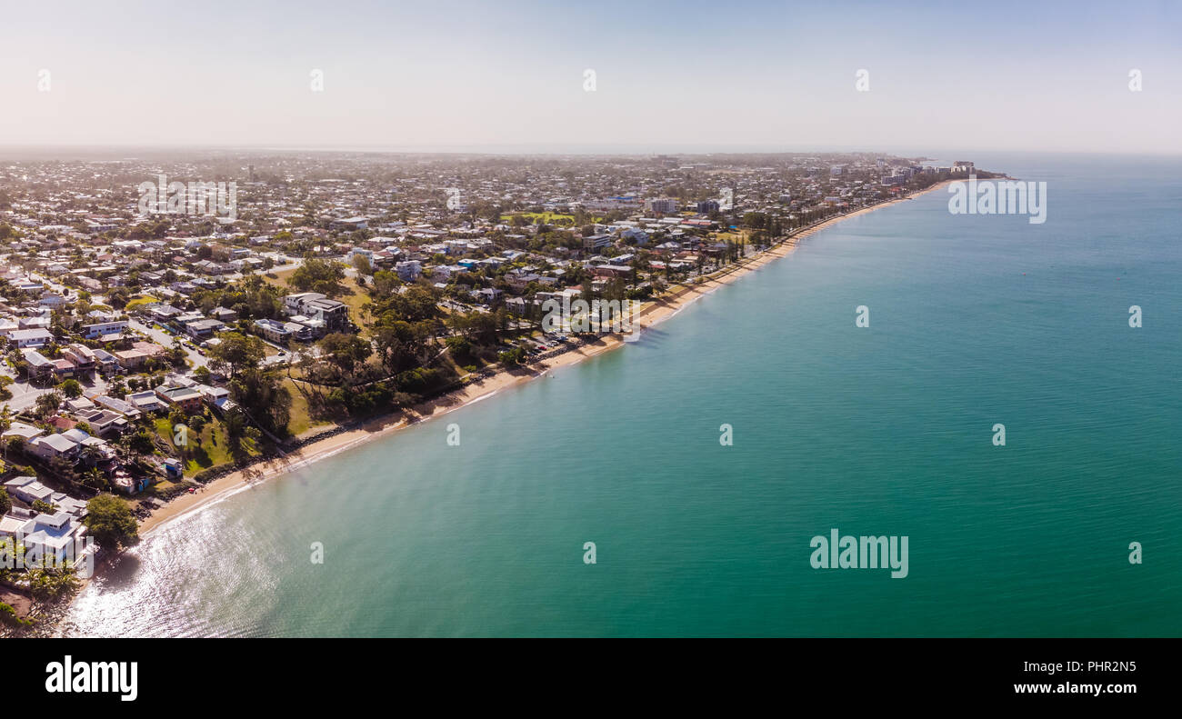 Aerial drone view of Woody Point and Margate on Redcliffe peninsula, Brisbane, Australia Stock Photo
