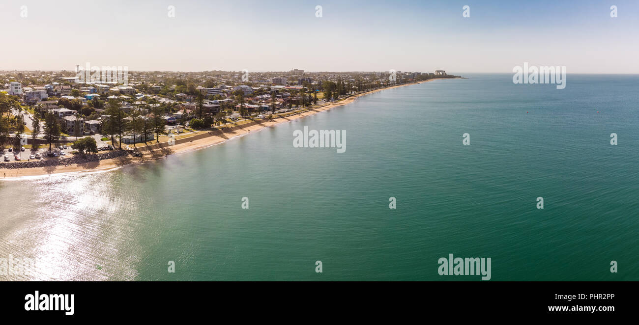 Aerial drone view of Woody Point and Margate on Redcliffe peninsula, Brisbane, Australia - Stock Image