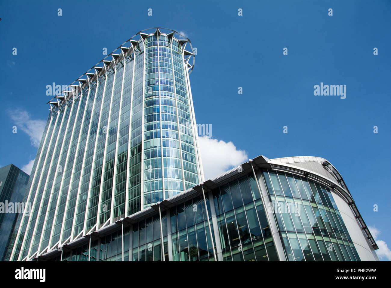 CityPoint, from Moor Lane, designed by architect Santiago Calatrava, on Ropemaker Street, London, EC2, UK - Stock Image