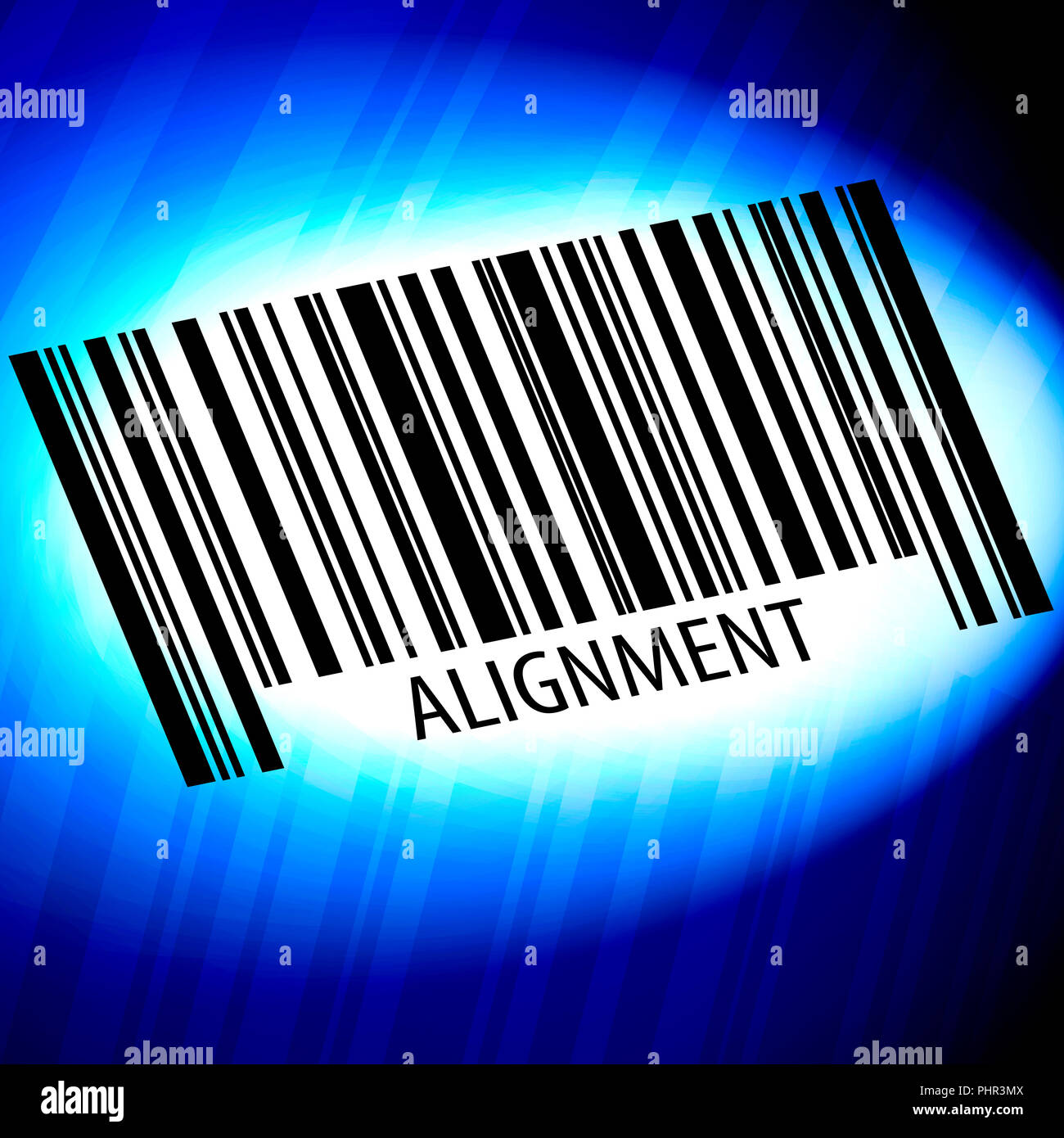 Alignment - barcode with blue Background - Stock Image