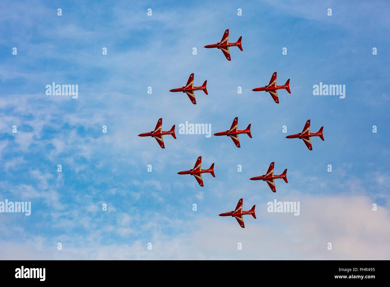 UK Bournemouth Air Festival in its 10th year, crowds flock to see the amazing displays, by the Red Arrows and Sally B flying fortress. 30th August 18 - Stock Image