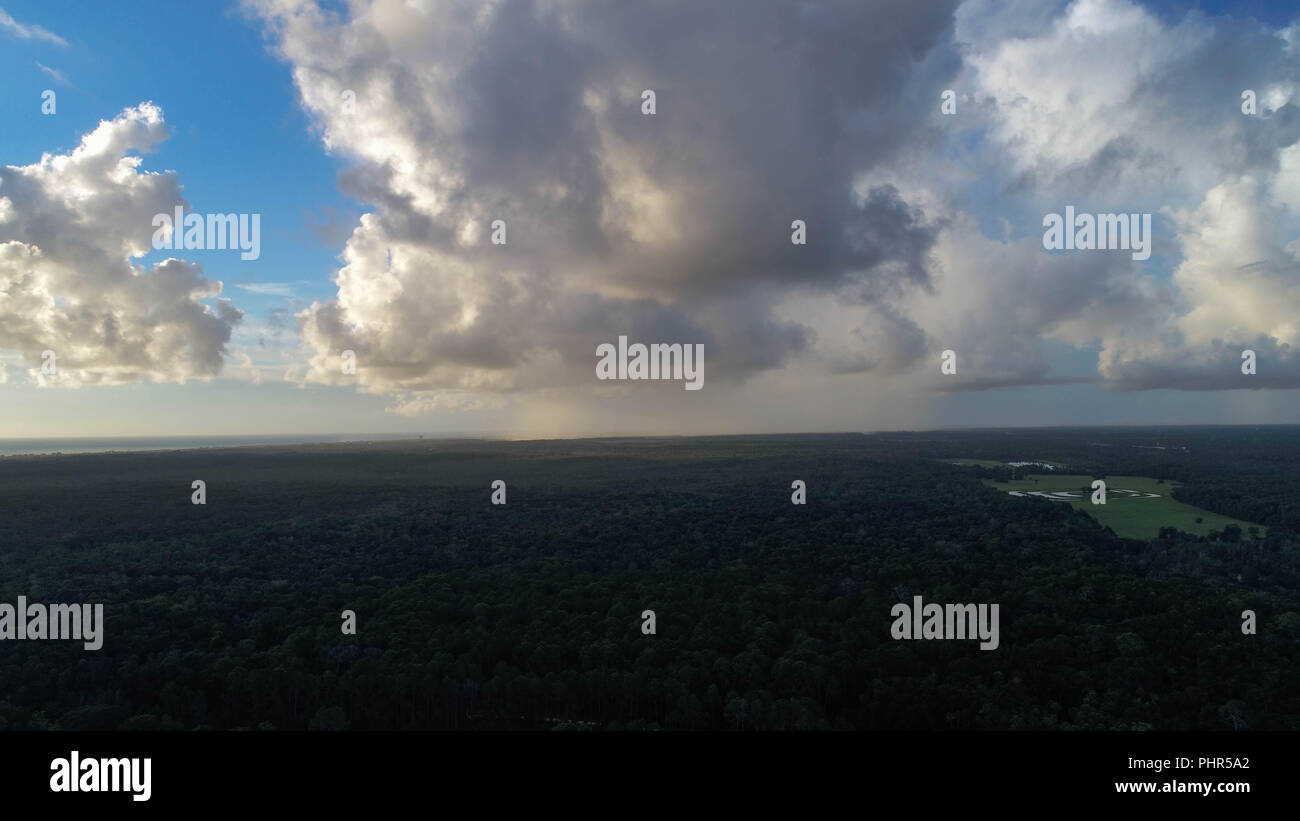 Drone Picture Of Distant Rain And Clouds - Stock Image