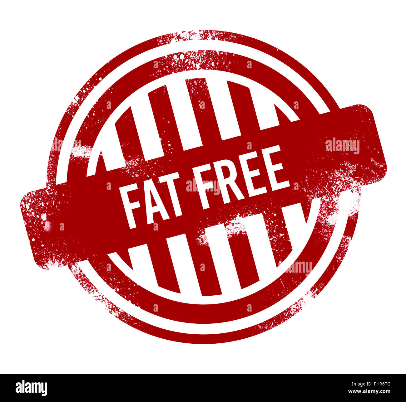 fat free - red grunge button, stamp Stock Photo