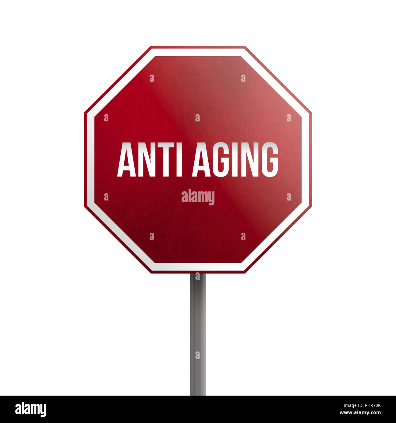 anti aging - red sign isolated on white background - Stock Image