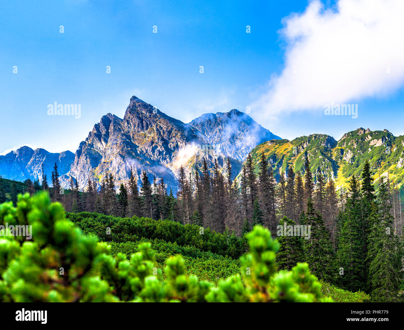 Polish Tatra mountains summer landscape with blue sky and white clouds. Stock Photo