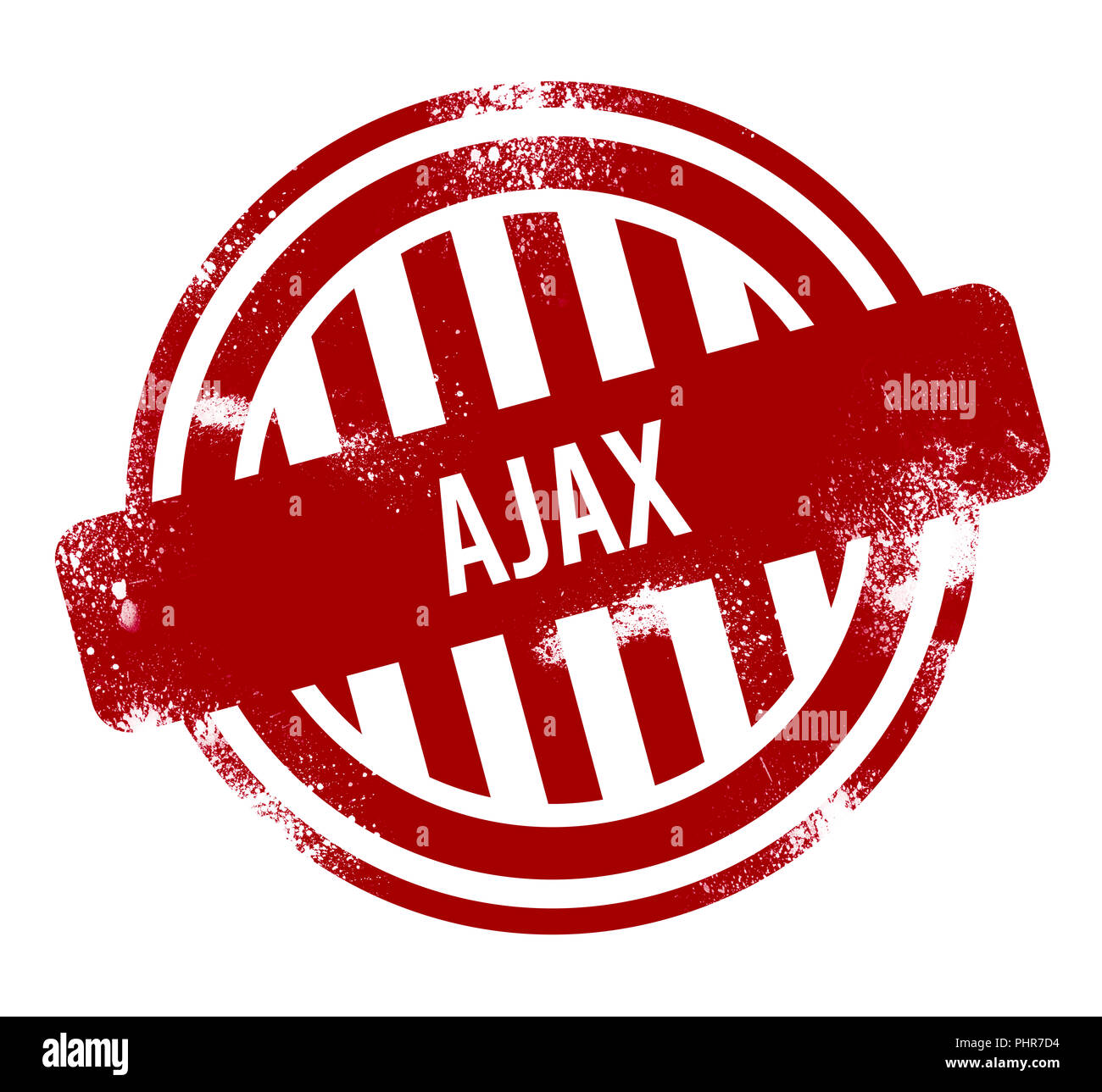Ajax - red grunge button, stamp - Stock Image