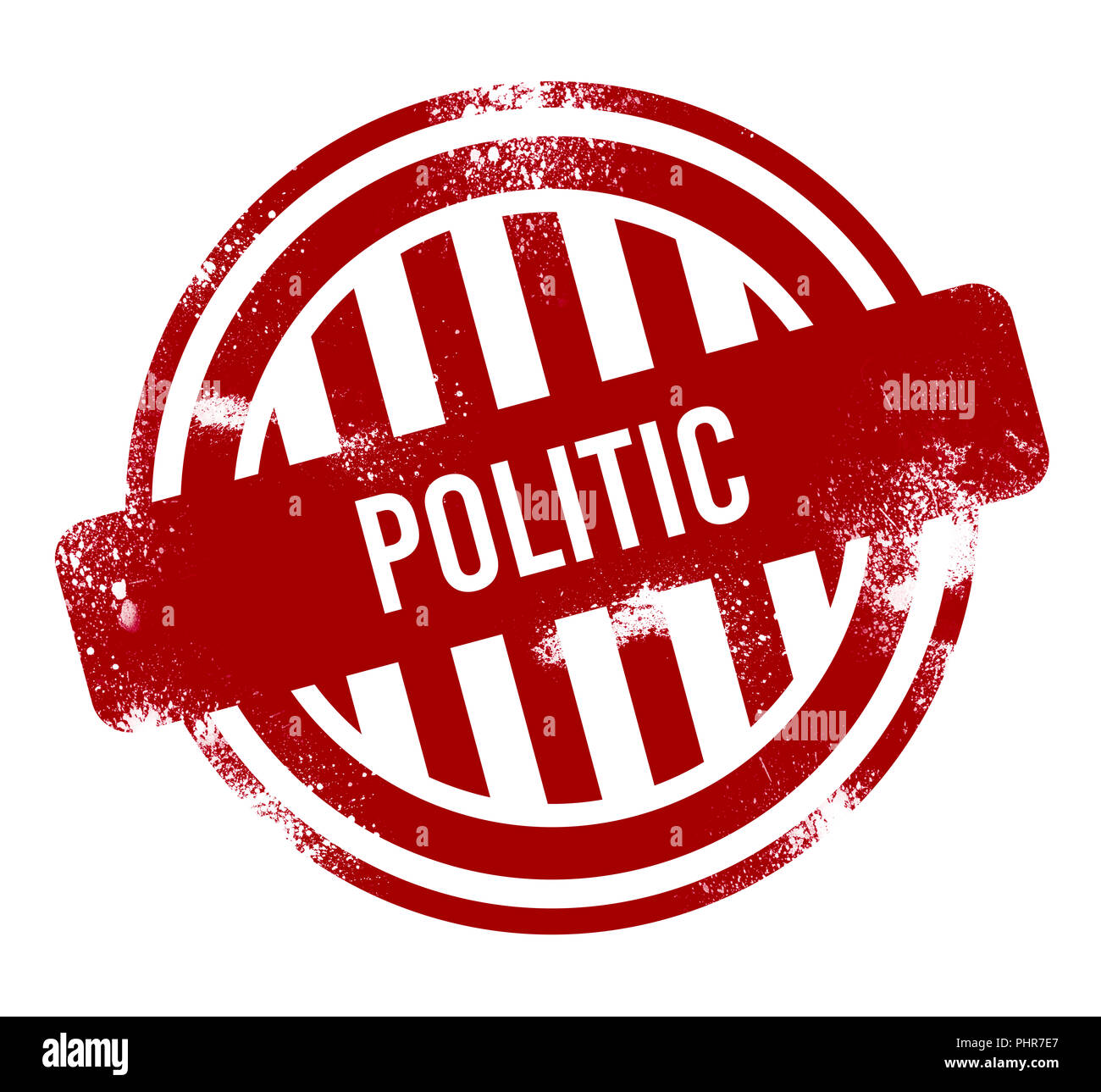 politic - red grunge button, stamp - Stock Image