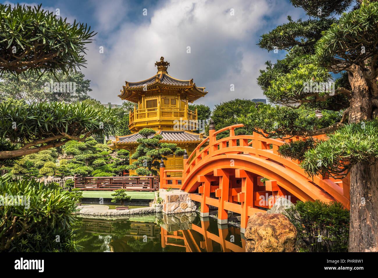 The golden pavilion in Nan Lian Garden, Hong Kong. Stock Photo
