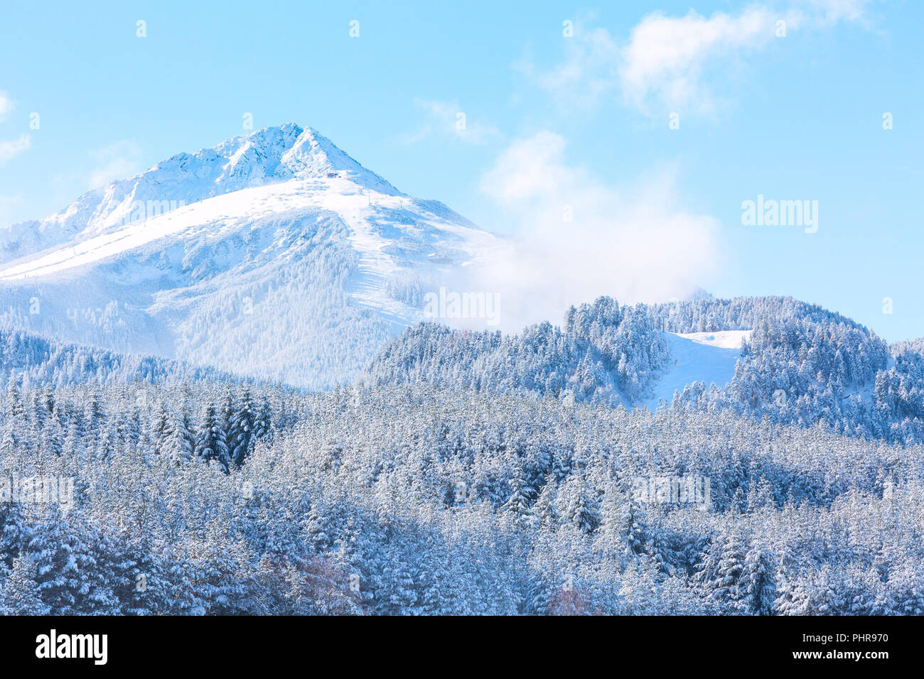 travel ski resort background with ski slopes panoramic view, snow