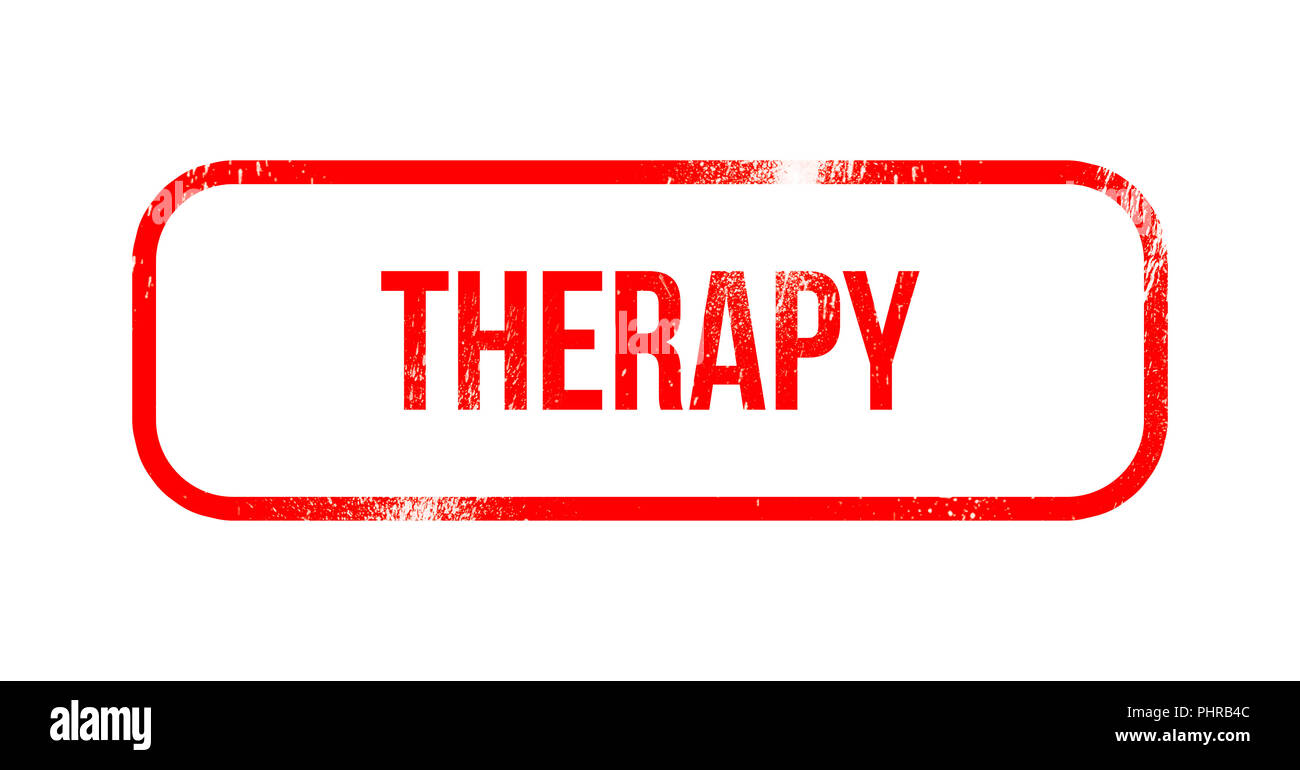 therapy - red grunge rubber, stamp - Stock Image