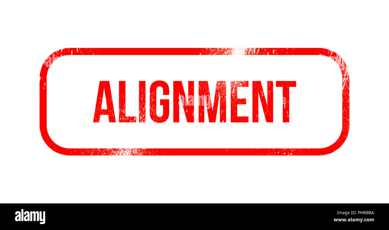 Alignment - red grunge rubber, stamp - Stock Image
