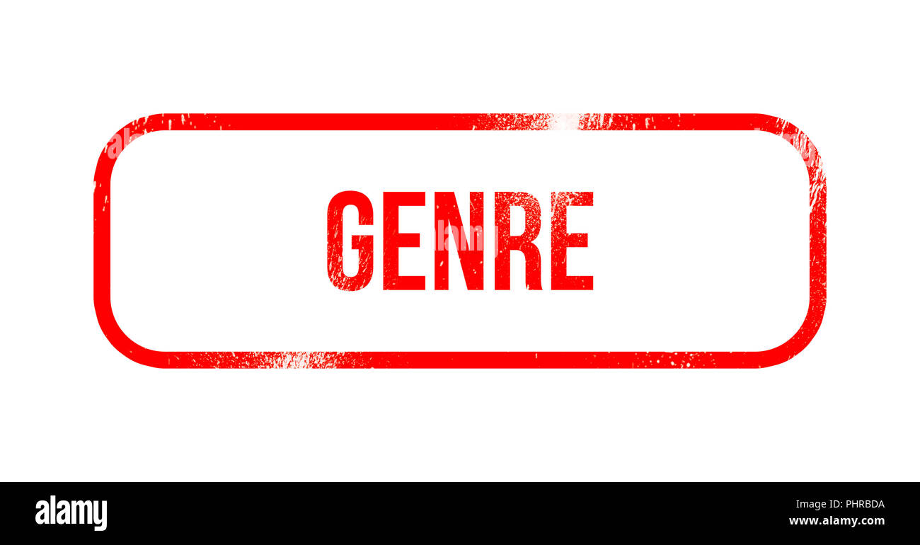 genre - red grunge rubber, stamp - Stock Image