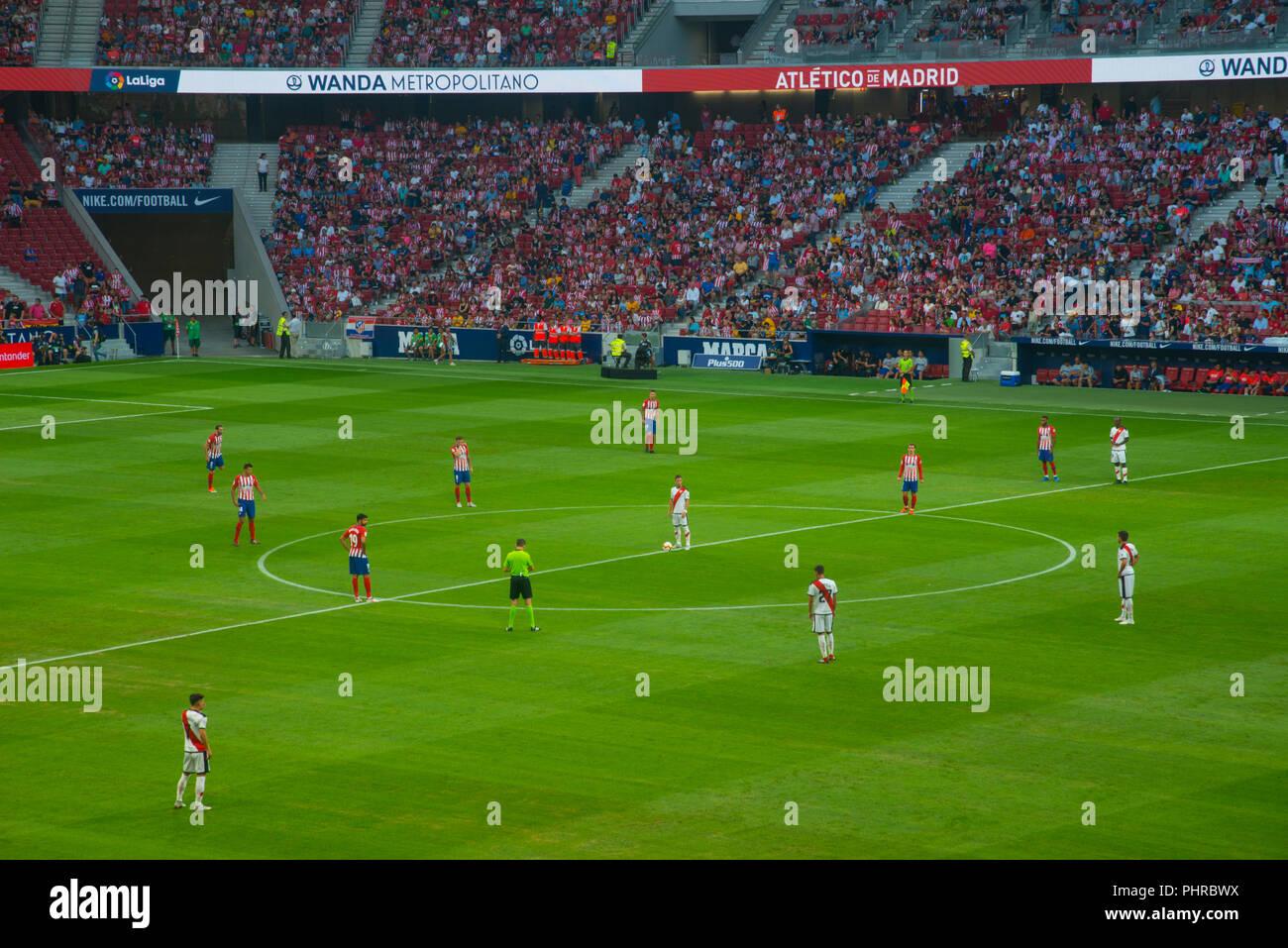 Football match, initial moment. Wanda Metropolitano Stadium, Madrid, Spain. - Stock Image
